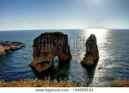 Beirut bay, rocks, lebanon, Asia, Mediterranian sea