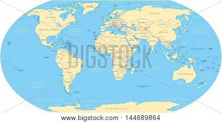 World map with shorelines, national borders and oceans under the Robinson projection. English labeling. Illustration.