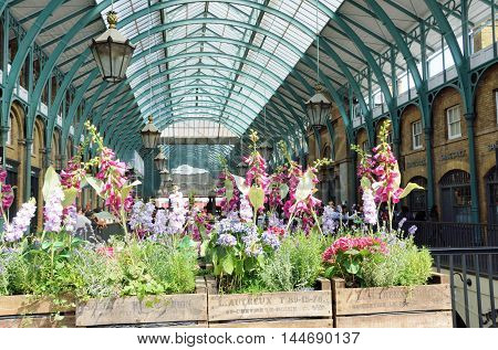Covent Garden London England United Kingdom - August 16 2016: Central Piazza Convent Garden London with Flowers in Foreground