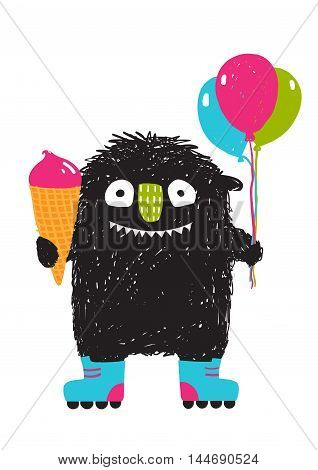 Happy funny little monster skating for children cartoon illustration. Vector drawing.