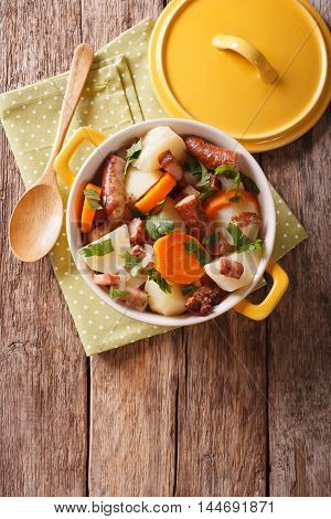 Traditional Irish Dish Is Coddle With Sausages, Bacon And Vegetables. Vertical Top View