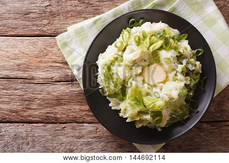 Irish Colcannon - Mashed Potatoes With Savoy Cabbage Closeup. Horizontal Top View