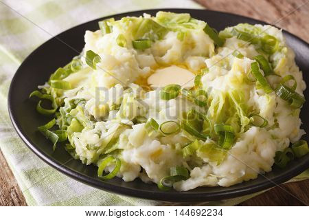 Irish Colcannon - Mashed Potatoes With Savoy Cabbage Closeup. Horizontal