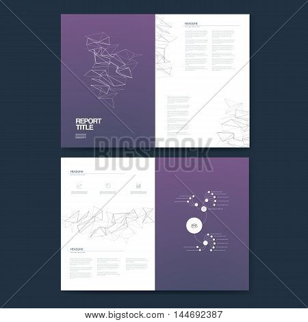 Business annual report template infographics data analysis layout for presentation. Finance icons and graphs with pie chart, timeline on line art low poly purple background. Eps10 vector illustration.