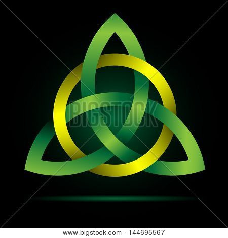 Triquetra. Celtic Trinity Knot. Traditional Celtic Irish Christian symbol, originating from the Norse Viking pictogram of Odin. Medieval and fantasy icon.