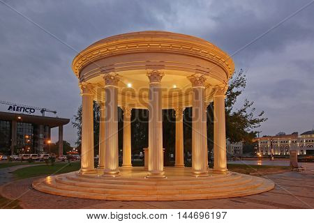 SKOPJE MACEDONIA - SEPTEMBER 16: The Pavilion in Skopje on SEPTEMBER 16 2012. Corinthian Style Wedding Gazebo at Night in Skopje Macedonia.