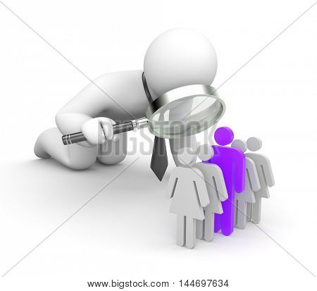 Selection of the personnel. 3d illustration