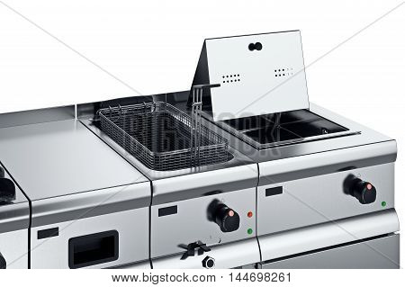Kitchen equipment professional with fryer, close view. 3D graphic