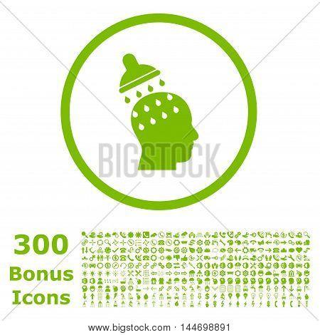 Brain Washing rounded icon with 300 bonus icons. Glyph illustration style is flat iconic symbols, eco green color, white background.
