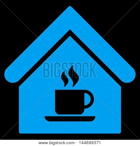 Cafe House icon. Vector style is flat iconic symbol, blue color, black background.