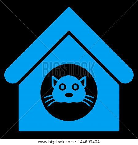 Cat House icon. Vector style is flat iconic symbol, blue color, black background.