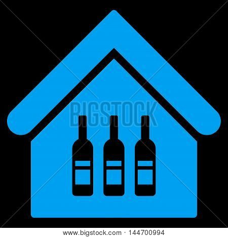Wine Bar icon. Vector style is flat iconic symbol, blue color, black background.