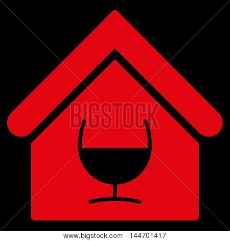 Alcohol Bar icon. Vector style is flat iconic symbol, red color, black background.