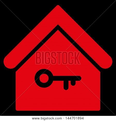 Home Key icon. Vector style is flat iconic symbol, red color, black background.