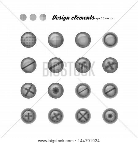Set of elements for design - buttons and bolts. A vector.