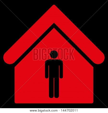 Man Toilet Building icon. Vector style is flat iconic symbol, red color, black background.