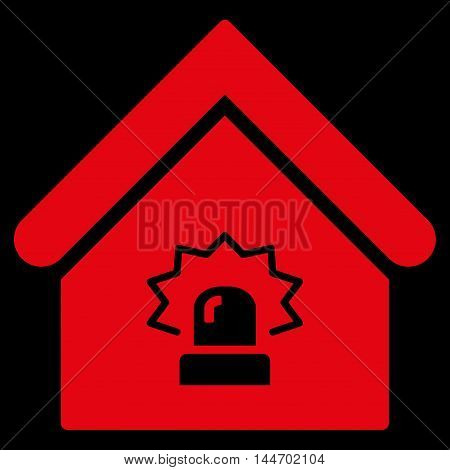 Realty Alarm icon. Vector style is flat iconic symbol, red color, black background.