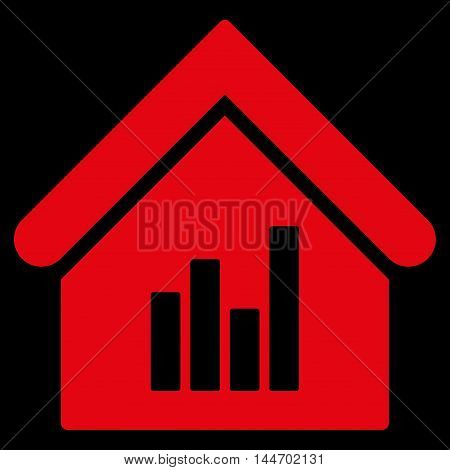 Realty Bar Chart icon. Vector style is flat iconic symbol, red color, black background.