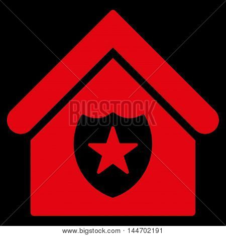 Realty Protection icon. Vector style is flat iconic symbol, red color, black background.