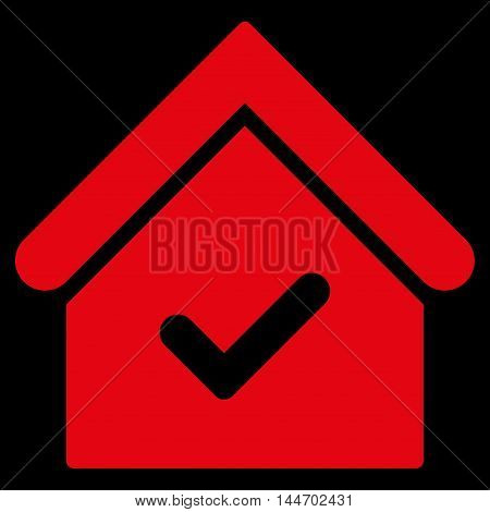 Valid House icon. Vector style is flat iconic symbol, red color, black background.