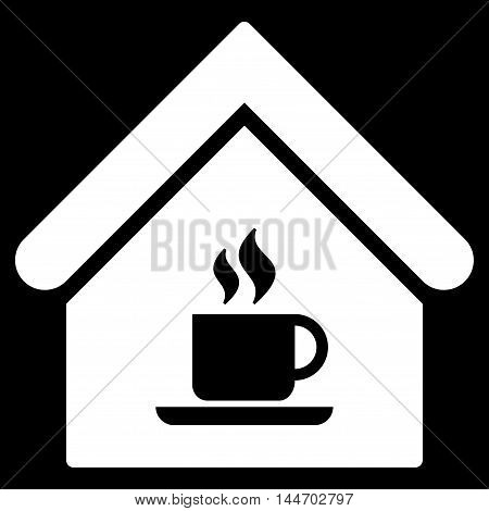 Cafe House icon. Vector style is flat iconic symbol, white color, black background.
