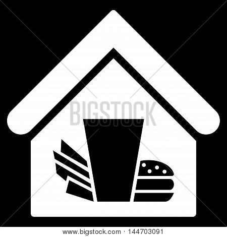 Fastfood Cafe icon. Vector style is flat iconic symbol, white color, black background.
