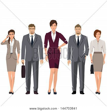 Young active people in elegant suits for office. Vector set.