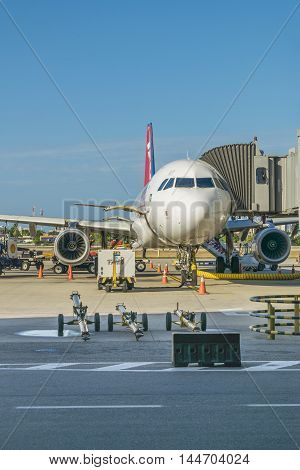 FORTALEZA, BRAZIL, DECEMBER - 2015 - Airplane parked at airport in Fortalzea city Brasil