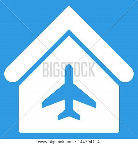 Aircraft Hangar icon. Vector style is flat iconic symbol, white color, blue background.