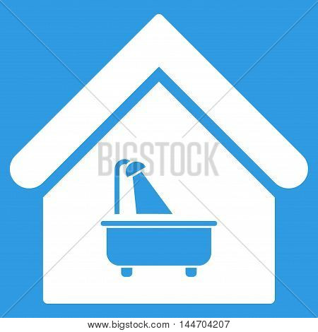 Bathroom icon. Vector style is flat iconic symbol, white color, blue background.