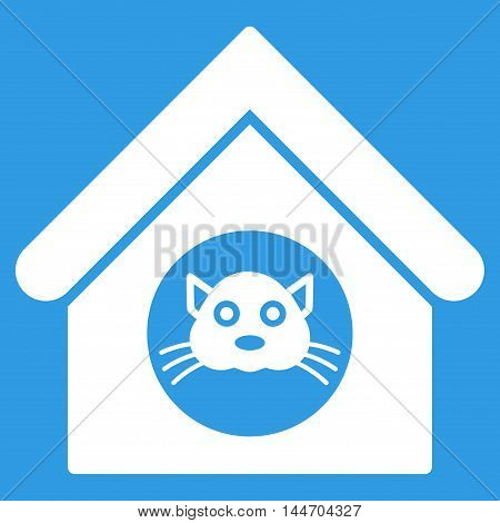 Cat House icon. Vector style is flat iconic symbol, white color, blue background.
