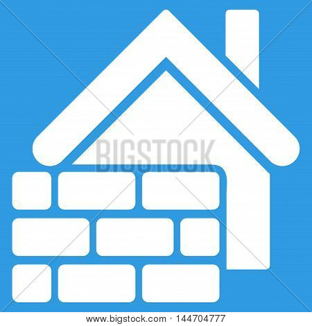 Realty Brick Wall icon. Vector style is flat iconic symbol, white color, blue background.