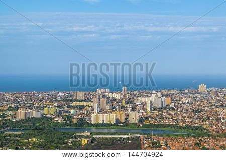 Aerial View Of Fortaleza Brasil From Window Plane