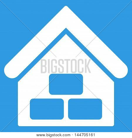 Warehouse icon. Vector style is flat iconic symbol, white color, blue background.