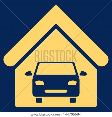 Car Garage icon. Vector style is flat iconic symbol, yellow color, blue background.