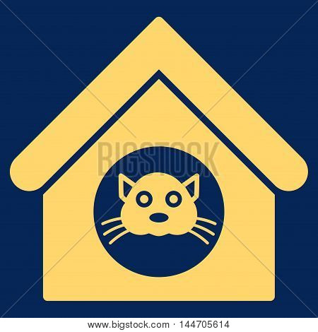 Cat House icon. Vector style is flat iconic symbol, yellow color, blue background.