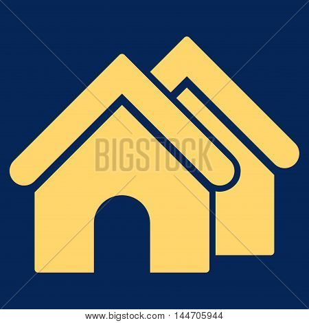 Real Estate icon. Vector style is flat iconic symbol, yellow color, blue background.