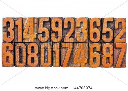 number abstract in antique letterpress wood type printing blocks isolated on white