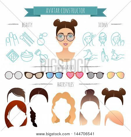 vector avatar constructor. 7 hairstyles, 6 sunglasses, 12 beauty icons for your design for your design