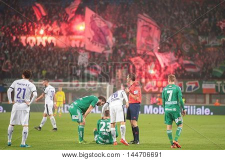 VIENNA, AUSTRIA - OCTOBER 28, 2015: Stefan Stangl (SCR) sits on the field after a foul in an Austrian Football Cup game.