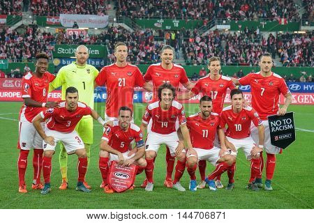 VIENNA, AUSTRIA - OCTOBER 12, 2015: The team of Austria poses before an European Championship qualification game.