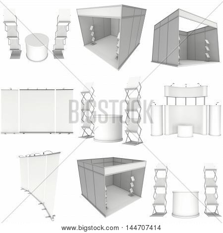 Trade show booth set. Roll-Up Pop-Up with LCD Screen Floor Stand. 3d render isolated on white background. Floor Stands Collection. Ad template for your expo design.