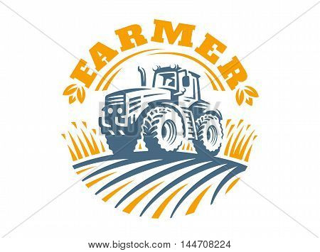 Tractor logo illustration on white background, emblem design