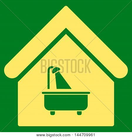 Bathroom icon. Vector style is flat iconic symbol, yellow color, green background.