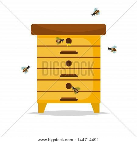 Wooden Beehive on white background. Traditional beehive natural beekeeper insect organic farm. Cartoon illustration beehive. Stock vector beehive nature honeycomb food sweet home.