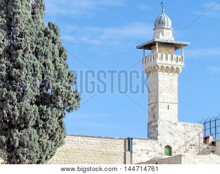 Jerusalem Israel - December 2 2012: Minaret of Al-Aqsa Mosque in the old city.
