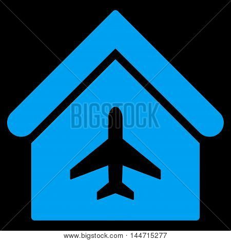 Aircraft Hangar icon. Glyph style is flat iconic symbol, blue color, black background.