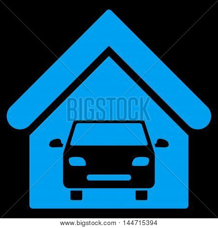 Car Garage icon. Glyph style is flat iconic symbol, blue color, black background.