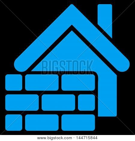 Realty Brick Wall icon. Glyph style is flat iconic symbol, blue color, black background.