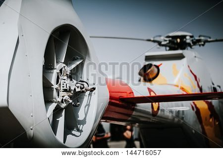 Helicopter tail rotor close up view during an airshow.